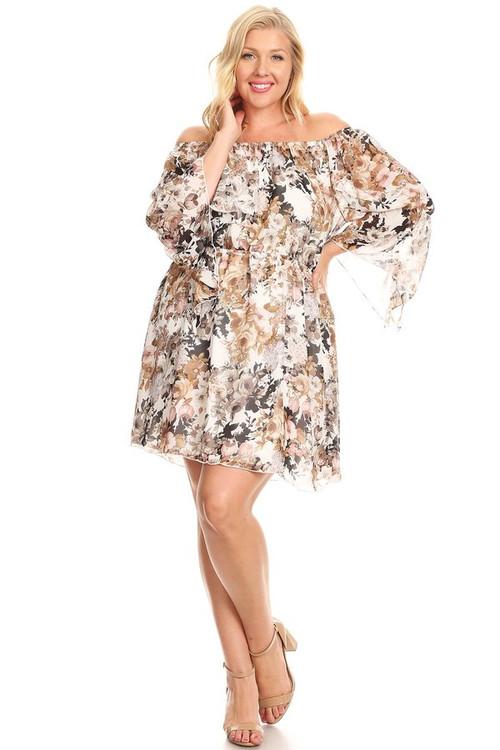 Woven Angel Sleeve Dress (Plus)