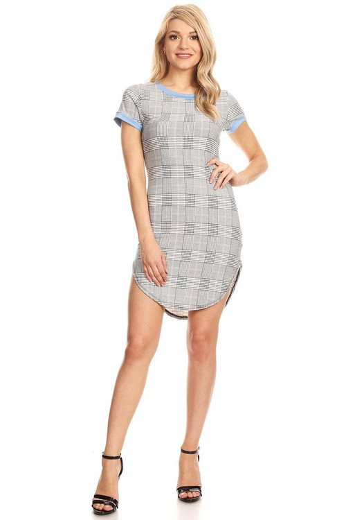 Ringer Sleeve Curved Hem Body Con Dress: Houndstooth & Baby Blue