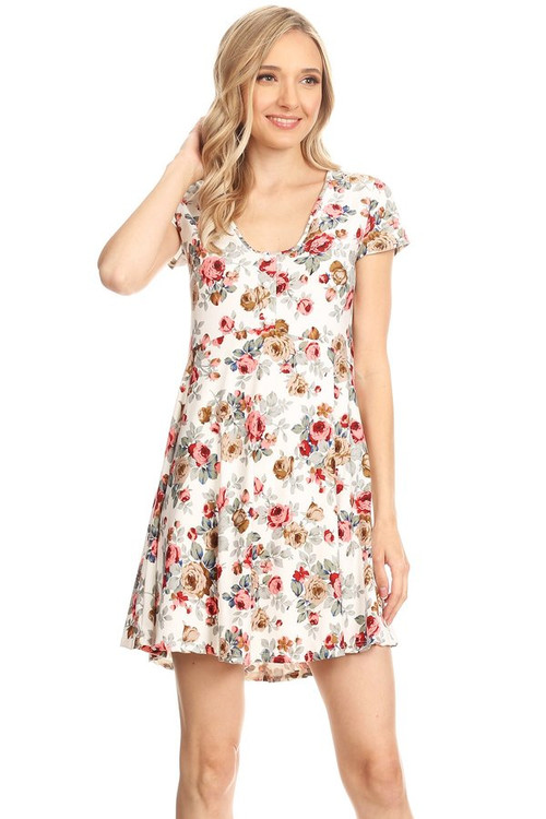 Button Up Tea Dress: Ivory Floral