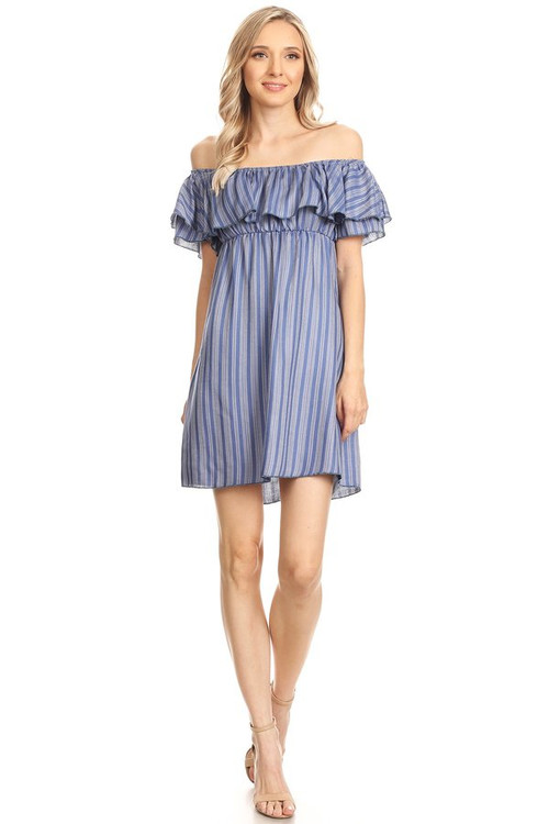 Woven Off The Shoulder Dress: Denim Striped
