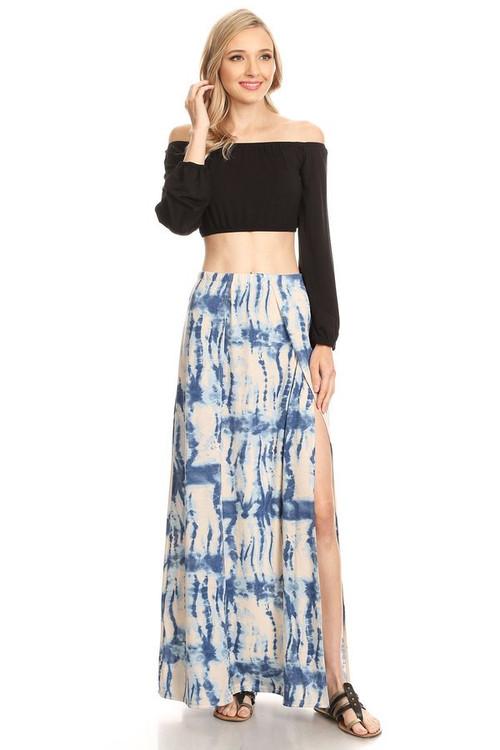 Double Split Maxi Skirt: Blue Tie Dye
