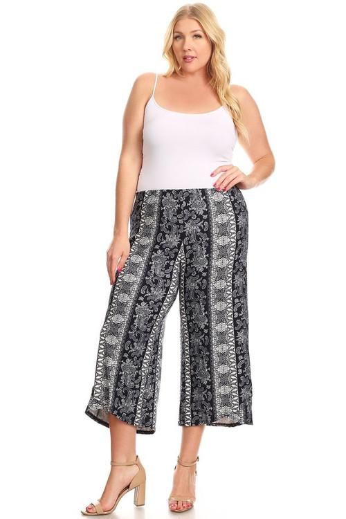 Printed Culotte Pants: Navy Aztec