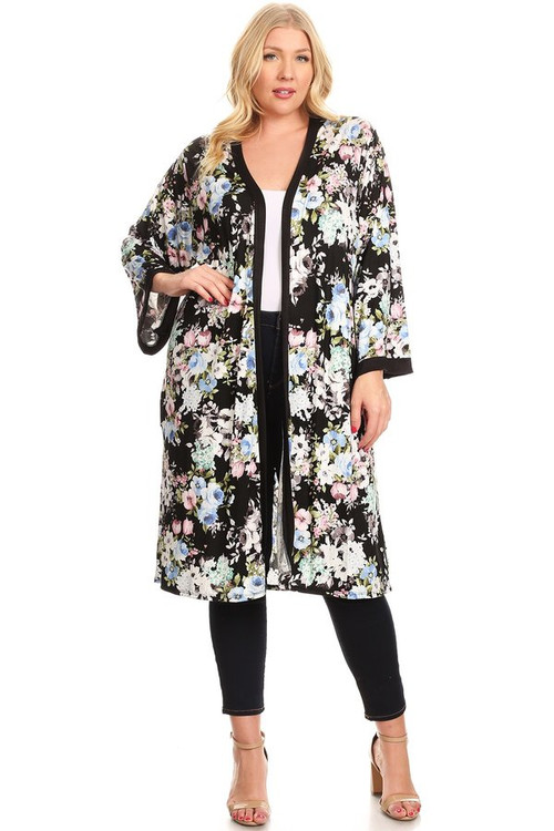 Knit Side Slit Kimono (Plus)