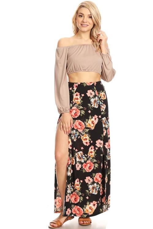 Double Split Maxi Skirt: Black Floral