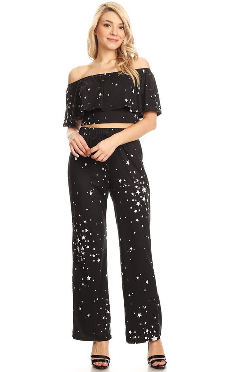 Ruffle Off The Shoulder Co Ord Set: Black Stars