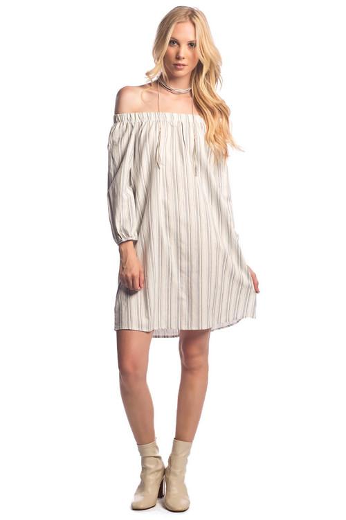 Off Shoulder A Line Dress: Denim Black Striped
