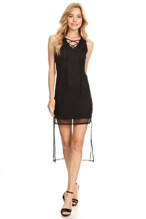 Mesh It Up Dress: Black