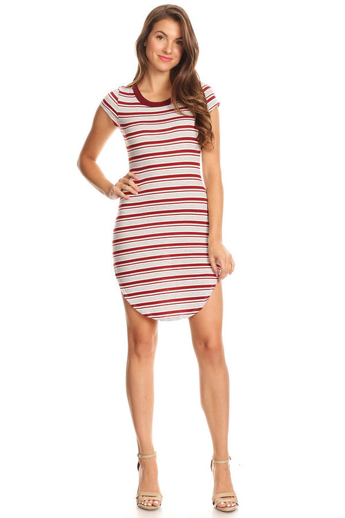 Ribbed T Dress: Burgundy Ivory Striped