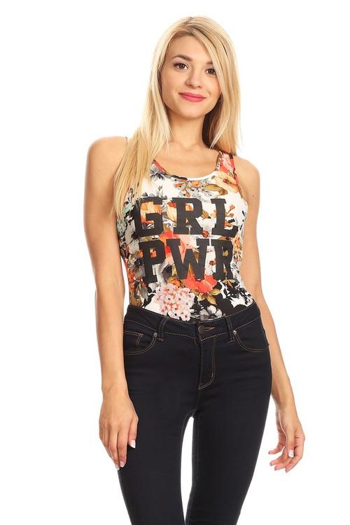 GRL PWR Bodysuit: Coral Floral