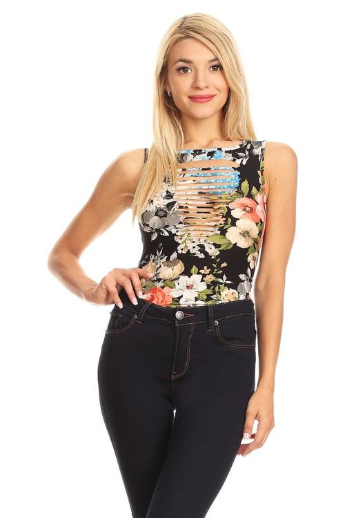 Cut Me Up Bodysuit: Black Floral