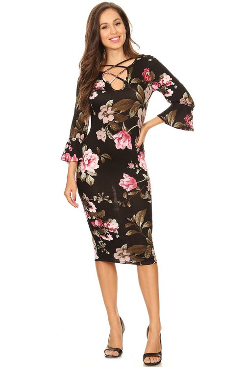 Bell Sleeve Midi Dress: Black Floral