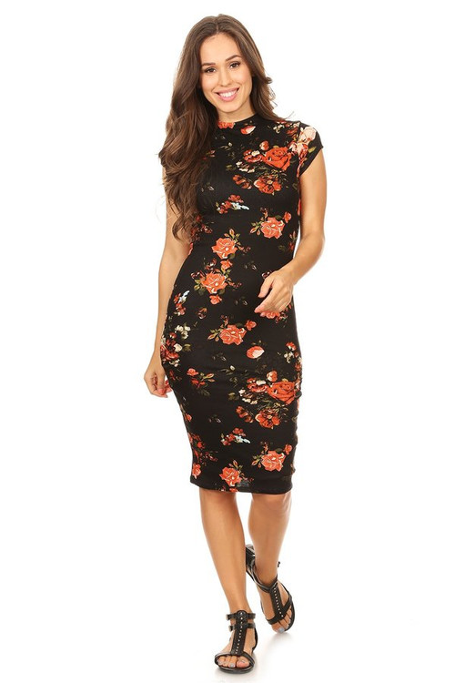 The VIBE Midi Dress: Black Floral
