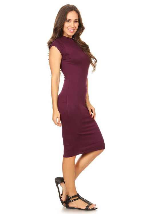 The VIBE Midi Dress: Plum