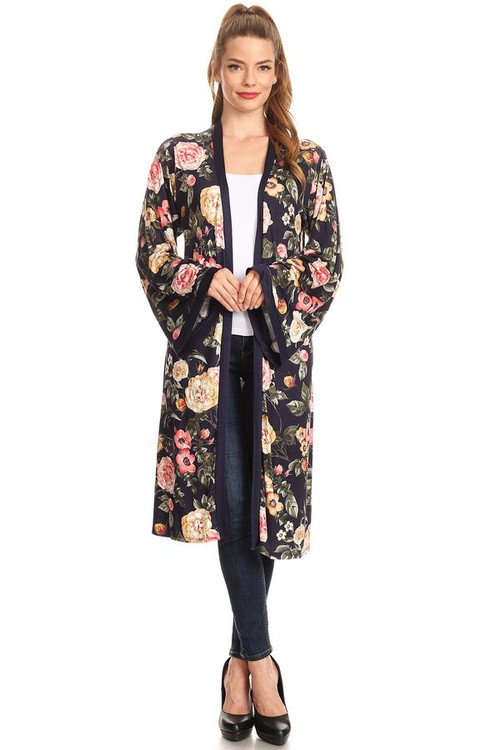 Knit Duster: Navy Floral