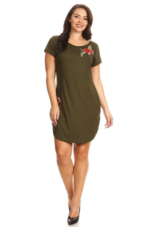 Rose Embroidery Tee Dress: Olive  (Plus)