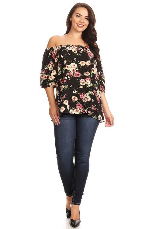 Off Shoulder Split Sleeve Top: Black Floral (Plus)