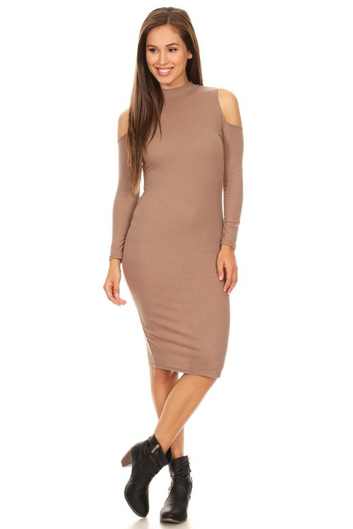 Ribbed Cold Shoulder Dress: Latte