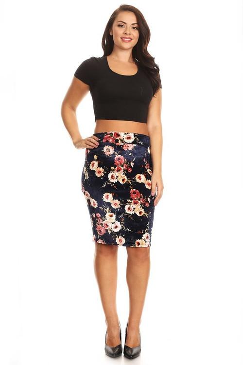 Velvet Pencil Skirt: Navy Floral (Plus)