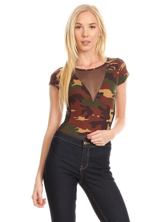 Mesh Insert Bodysuit: Camouflage