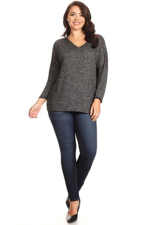Sweater Knit V Neck Top: Black (Plus)