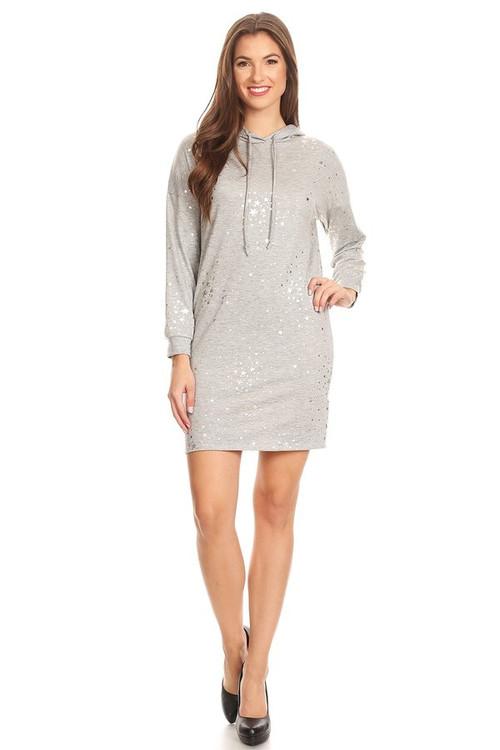 Sweater Knit Hoodie Dress: Gold Stars
