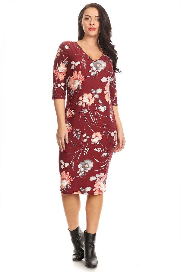 bff5ae4aacae Plus Elbow Sleeve Floral Midi Dress - VIBE Apparel Co.
