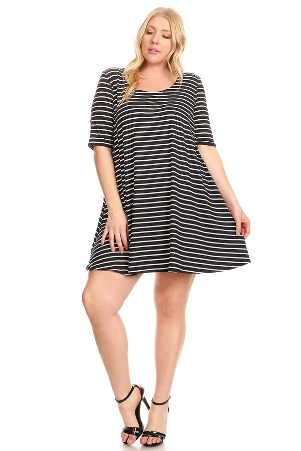 942d31e65dde Brushed Swing Dress: Black Ivory Stripes (Plus) - VIBE Apparel Co.
