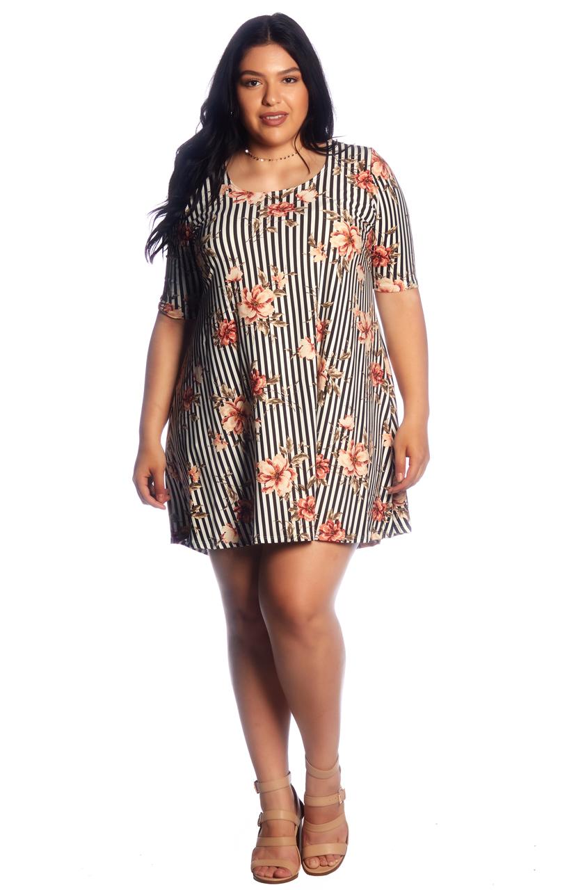 67768443843e7 Plus Stripe Floral Brushed Swing Dress - VIBE Apparel Co.