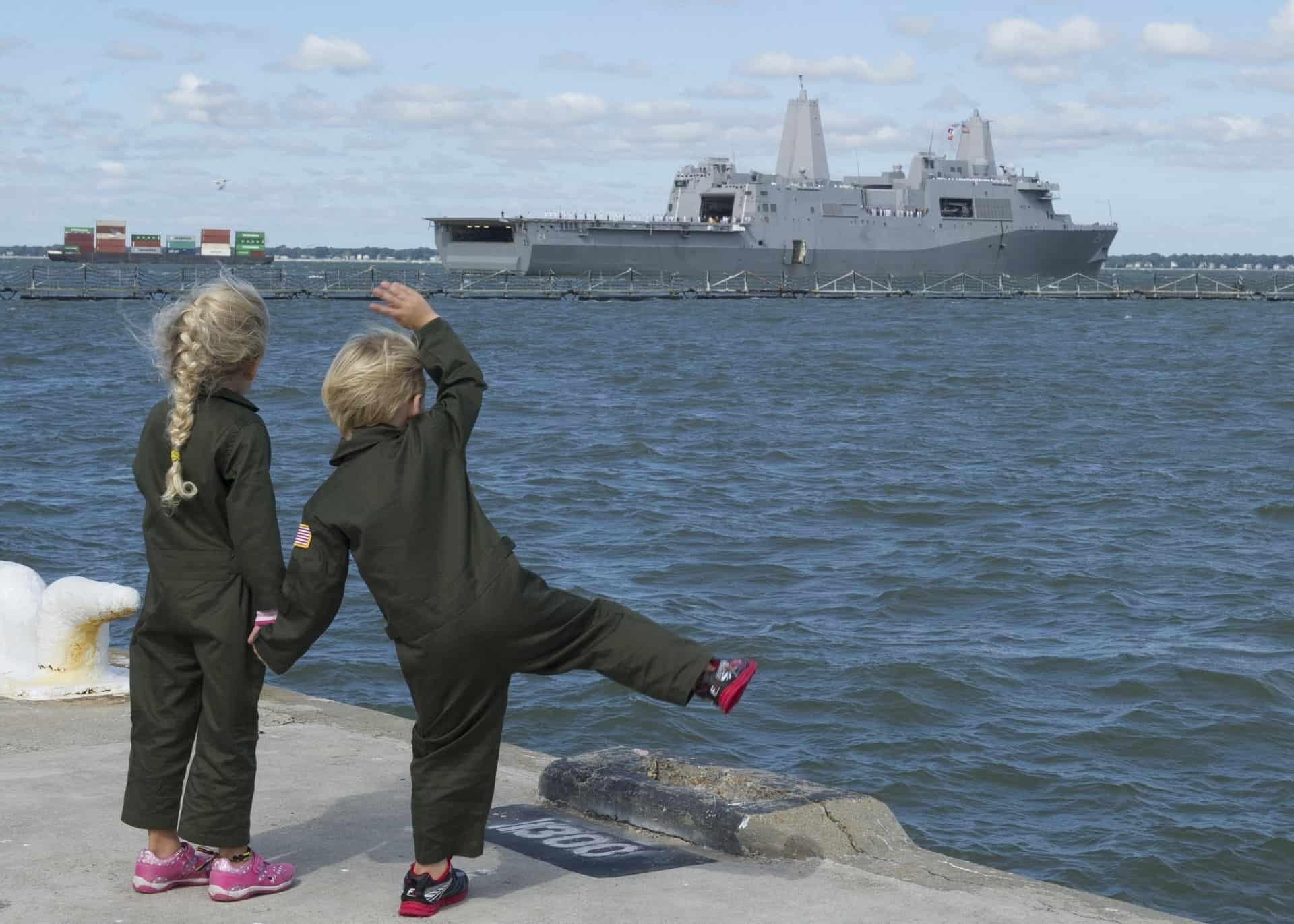Children Waving to Ship