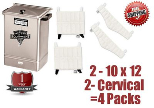 Chattanooga Hydrocollator E1 - Qty 2  Standard & 2 Cervical Hot packs