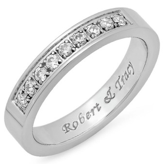 4mm  Quality Stainless Steel Half Eternity Ring with Clear CZ