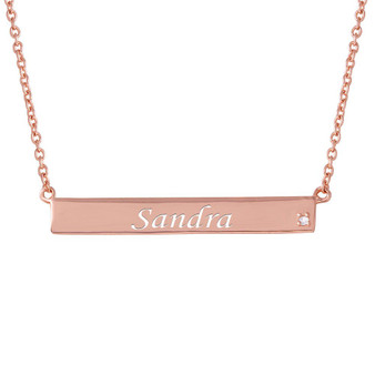 Sterling Silver Rose Gold Plated Bar Necklace with CZ