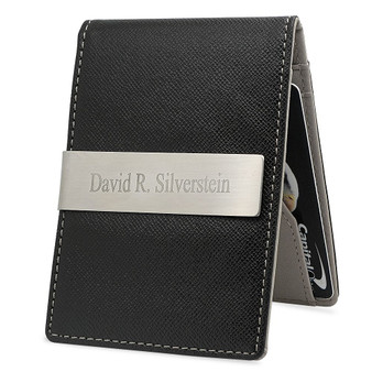 Quality Mens Slim Money Clip Wallet Card Holder - Free Engraving