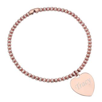 Sterling Silver Rose Gold Plated Heart Charm Bracelet