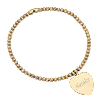 Sterling Silver Gold Plated Heart Charm Bracelet