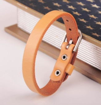 Personalized Tan Color Genuine Leather Bracelet