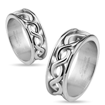 Personalized Stainless Steel Infinity Symbols Wrapped Ring