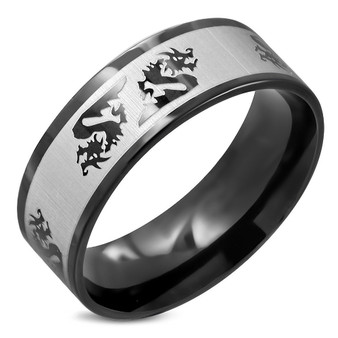 8mm Black Stainless Steel 2-tone Dragon Sign Flat Band Ring