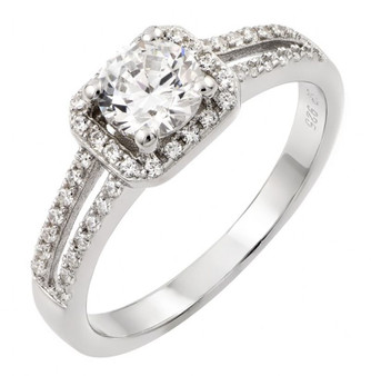 Sterling Silver Rhodium Plated Cubic Zirconia Ring
