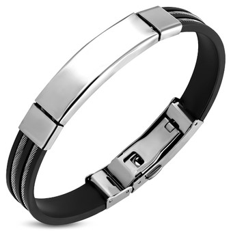 Personalized Black Rubber with Stainless Steel Bracelet
