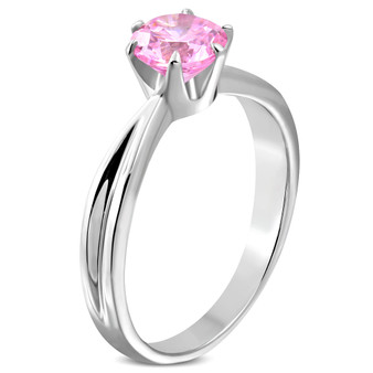 Stainless Steel Prong-Set Round Solitaire Ring with Pink CZ