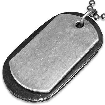 Metal Alloy & Black Leather Dog Tag with Chain-Free Engraving