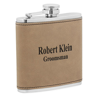 Personalized 6 oz. Light Brown Leatherette Stainless Steel Flask