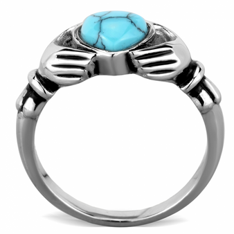 Quality Stainless Steel Claddagh  Turqoise Heart Ring