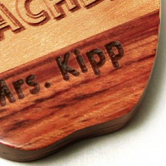 Personalized Dual tone Wood Apple Shape Keychain