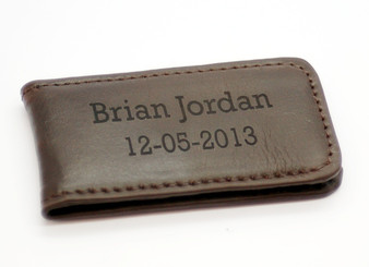 Brown Strong Magnet Genuine Leather Money Clip