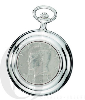 Genuine U.S. Half Dollar Coin Quartz Pocket Watch by Charles Hubert