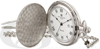 Charles-Hubert Paris Satin Finish Hunter Case Quartz Pocket Watch