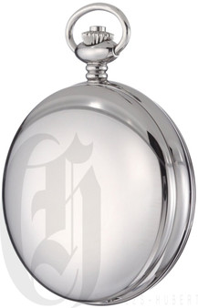 Charles-Hubert Paris Stainless Steel Double Mechanical Pocket Watch
