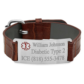 Stainless Steel with Brown Leather Medical ID Bracelet